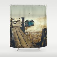 rowing Shower Curtains featuring Crooked fisherman by HappyMelvin