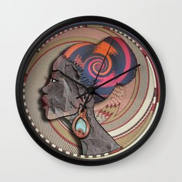 African woman profile on a woven basket Wall Clock