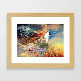 The spirit Wolf Abstract Framed Art Print
