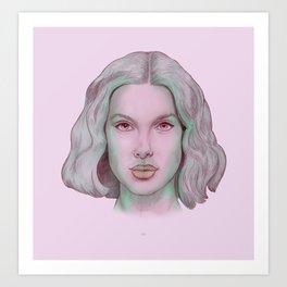 Girl Rose Art Print