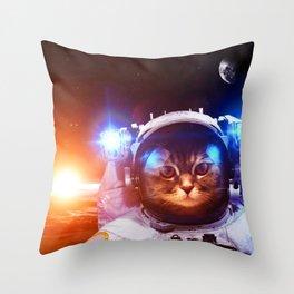 Funny Cat Astronaut #1 Throw Pillow