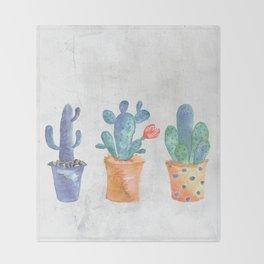 Three Blue Cacti Throw Blanket