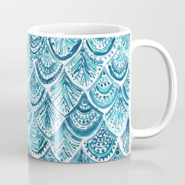 NAVY LIKE A MERMAID Fish Scales Watercolor Coffee Mug