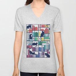 Rainbow bookshelf // white background navy blue shelf and library cats Unisex V-Neck