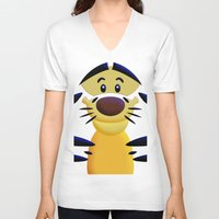 cartoons V-neck T-shirts featuring Cute Orange Cartoons Tiger Apple iPhone 4 4s 5 5s 5c, ipod, ipad, pillow case and tshirt by Three Second
