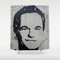 neil gaiman Shower Curtains featuring Barney Stinson (Patrick Neil Harris) by Andulino
