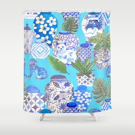 chinese ginger jars, Shower Curtain
