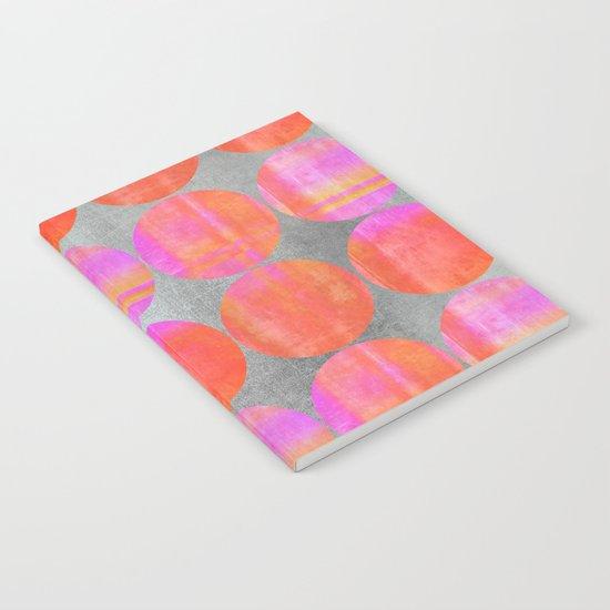 orange dots mixed media modern pattern Notebook