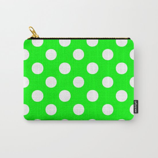 Polka Dots (White/Green) Carry-All Pouch