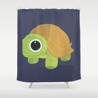 sea turtle Shower Curtains featuring Turtle by Adamzworld