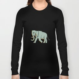 African Elephant Walking Mono Line Art Long Sleeve T-shirt