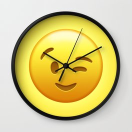 Emoji Winking Face Wall Clock
