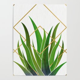 Emerald Succulent with Metallic Gold Diamonds Poster