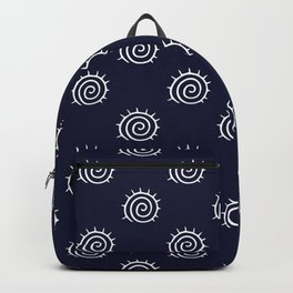 nautical blue and white spiral pattern Backpack