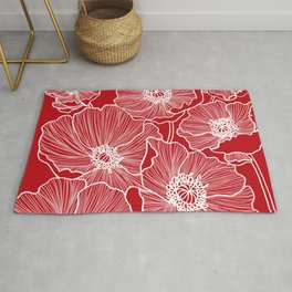 Holly Berry Red Poppies Drawing Rug
