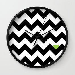 Heart & Chevron - Black/Green Wall Clock