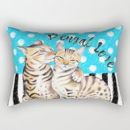 Bengal Cats Polka Dot Watercolor Love Rectangular Pillow