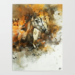 Watercolor Galloping Horses On Raw Canvas | Splatter Painting Poster
