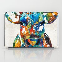 nba iPad Cases featuring Colorful Cow Art - Mootown - By Sharon Cummings by Sharon Cummings