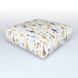 Giraffe of a different Color: white background Outdoor Floor Cushion