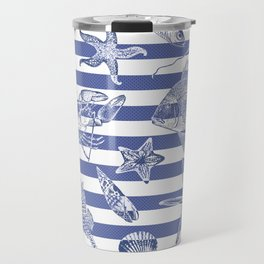 Sea things, blue striped design Travel Mug