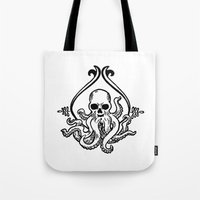 cthulhu Tote Bags featuring Cthulhu by MyOwlHasAntlers