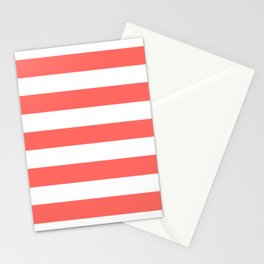 Pastel red - solid color - white stripes pattern Stationery Cards