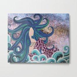 Midnight Blue Mermaid Metal Print