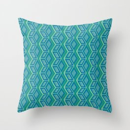 3D Squared - Blue/Green Throw Pillow