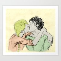 les mis Art Prints featuring JehanxCourfeyrac Les Mis by Pruoviare