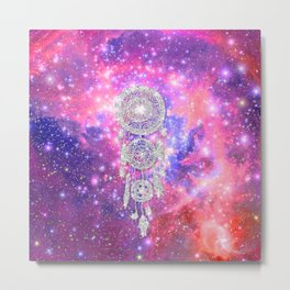 Galaxy Nebula Glitter dreamcatcher Pink Purple Space Metal Print
