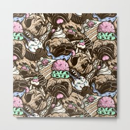 Dogs & Desserts Pattern Metal Print