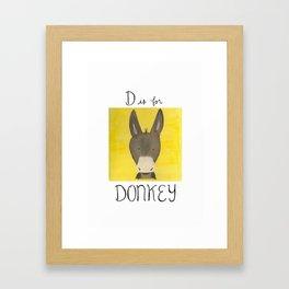 D is for Donkey Framed Art Print