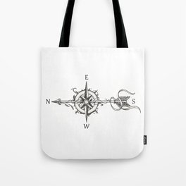 Compass with Arrow (Tattoo stule) Tote Bag