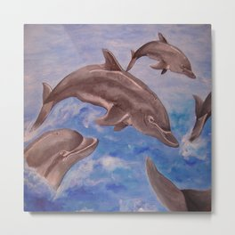 A Pod of Playful Jumping Dolphins Metal Print
