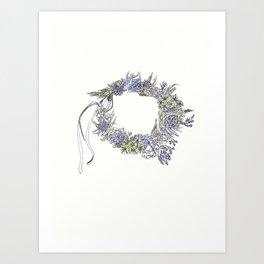 Flowers & Dandelions Flower Crown Art Print