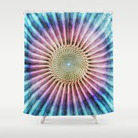 tie dye Shower Curtains featuring Textured Mandala Tie Dye by Phil Perkins