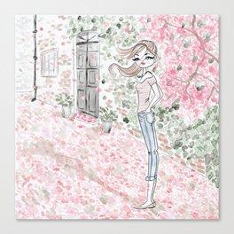 Sweet woman in a pink petal rain. Canvas Print