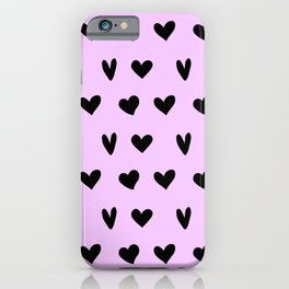 Black Hearts Lovely Pattern Happy Valentines Day iPhone Case