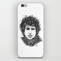 bob dylan iPhone & iPod Skins featuring Bob Dylan by The Curly Whirl Girly.