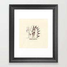Aberdeen - dinosaur police sketch Framed Art Print