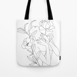 Minimal Line Art Woman with Peonies Tote Bag