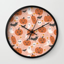Pumpkin Party on Blush Pink Wall Clock