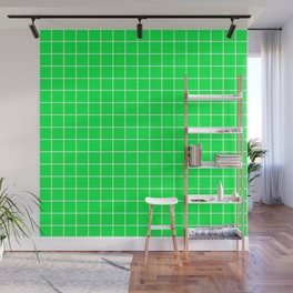 Erin - green color - White Lines Grid Pattern Wall Mural