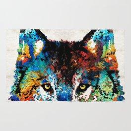 Wolf Art Print - Hungry - By Sharon Cummings Rug