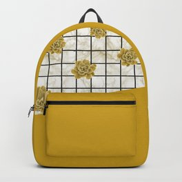 Succulents geometric composition - Yellow Lemon Curry Backpack