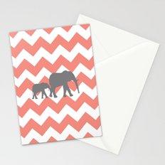 Chevron Elephants Stationery Cards