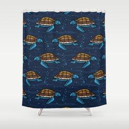 Cute swimming group of sea turtles cartoon seamless pattern. Shower Curtain