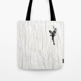 Woman Climbing a Wrinkle Tote Bag