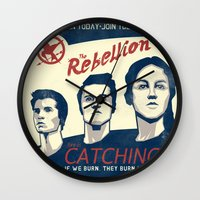 propaganda Wall Clocks featuring The Rebellion - Propaganda by Head Glitch